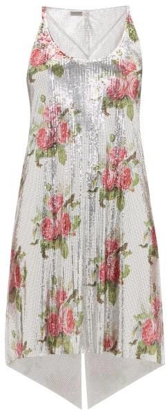 Paco Rabanne Floral-print Chainmail Mini Dress - Silver Multi