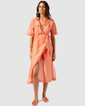 SUBOO Farrah Wrap Belted Long Dress