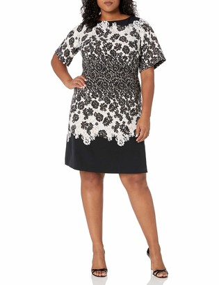Adrianna Papell Women's Size Plus Lace Print Fit and Flare