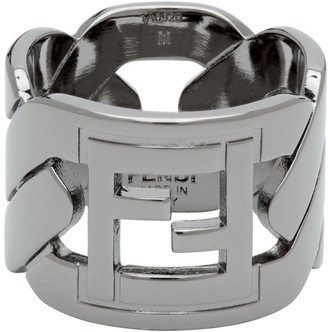 Fendi Black Forever Chain Ring