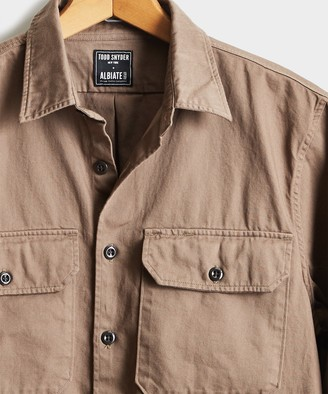 Todd Snyder Italian Two Pocket Utility Long Sleeve Shirt in Mushroom