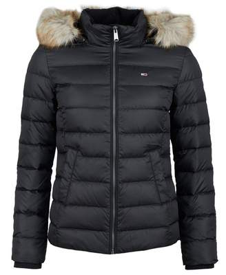 Tommy Jeans Essential Faux Fur Down Puffa Jacket Colour: BLACK, Size: