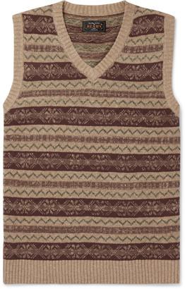 Beams Slim-Fit Fair Isle Linen And Cotton-Blend Sweater Vest