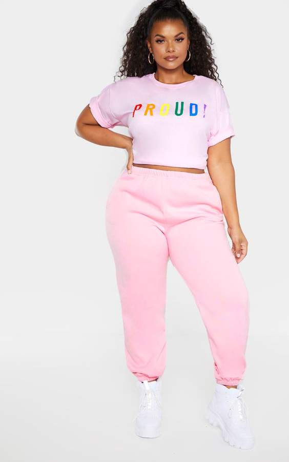 great variety models a few days away fashion design Plus Light Pink Casual Jogger