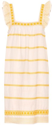 Tory Burch Embroidered linen and cotton dress