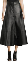 Michael Kors Button-Front Leather Midi Skirt