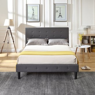 Cambridge Silversmiths Modern Sleep Upholstered Platform Bed | Headboard and Metal Frame with Wood Slat Support | Grey, Multiple Sizes