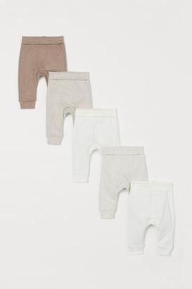 H&M 5-pack Cotton Pants - Beige