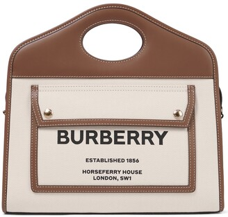 Burberry Pocket Small leather-trimmed canvas tote