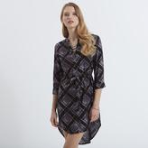 Apricot Black&Purple Check Shirt Dress