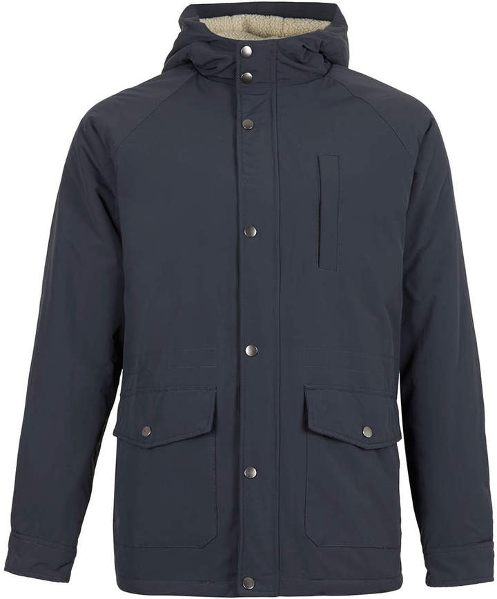 Topman Blue Borg Lined Hooded Jacket