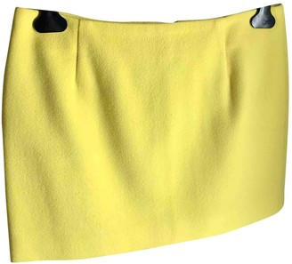MSGM Yellow Wool Skirt for Women