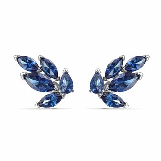 Swarovski Louison Stud Pierced Earrings with Sparkling Blue Petal-Shaped Crystals on Rhodium Plated Metal Part of Swarovski's Louison Collection