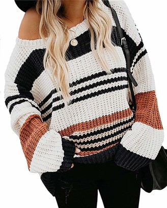 Magritta Women Pullover Lon g Sleeve Sweater Striped Crew Neck Color Block Knitted Tops Blue Large
