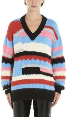 MSGM Striped Oversized V-Neck Sweater