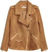 H&M Imitation Suede Biker Jacket - Dark camel - Ladies