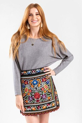 francesca's Evangeline Embroidered Mini Skirt - Black