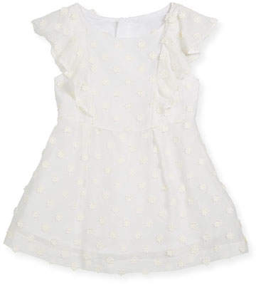 Milly Daisy-Embroidery Ruffle Dress, Size 8-16