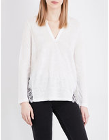 Sandro Lace-trim linen and chiffon top