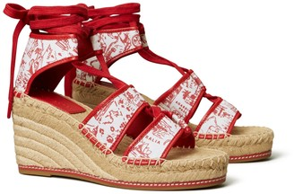 Tory Burch Printed Lace-Up Espadrille