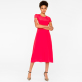 Paul Smith Women's Bright Red Silk Dress With Pleat Detailing