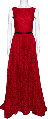 Carolina Herrera Red Lace Bow Detail Sleeveless Gown S
