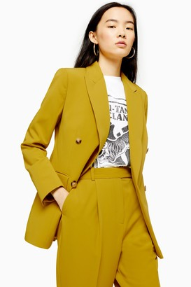 Topshop Womens Chartreuse Double Breasted Blazer - Chartreuse