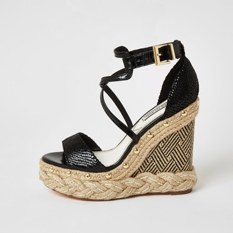 River Island Womens Black cross strap espadrille wedge sandals