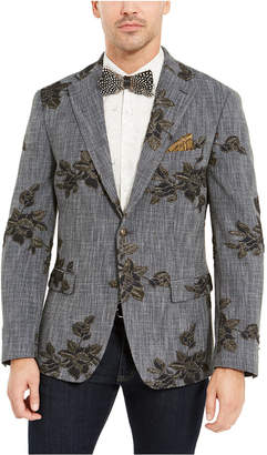 Tallia Men Navy Melange Metallic Floral Dinner Jacket