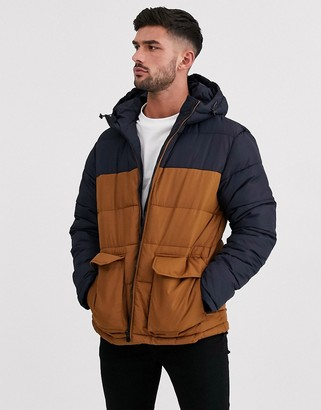 New Look colour block puffer jacket in navy and tobacco