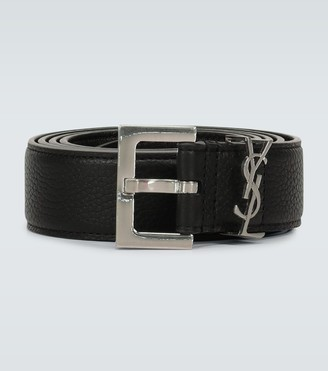 Saint Laurent Slim grained leather belt