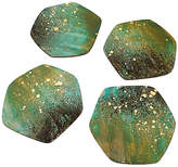 One Kings Lane Set of 4 Patina Coasters - Green/Gold