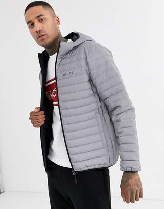 Nicce puffer jacket with hood in reflective-Silver