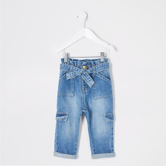 River Island Mini girls Blue paperbag tie waisted jeans