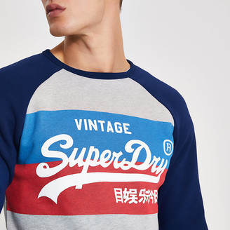 River Island Superdry grey printed raglan sweatshirt