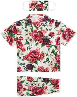Dolce & Gabbana Kids Peony-print pyjama set with matching face mask