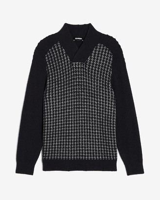 Express Houndstooth Shawl Collar Sweater