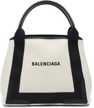 Balenciaga Cabas S Logo-print Leather-trim Canvas Tote Bag - Black Multi