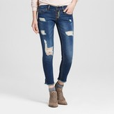 Dollhouse Women's Exposed Button Fly Destructed Rolled Crop Jeans Juniors')