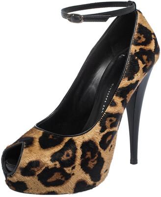 Giuseppe Zanotti Brown/Black Pony Hair And Leather Ankle Strap Peep Toe Platform Pumps Size 39