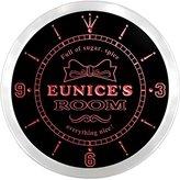 AdvPro Clock ncpe0327-r Eunice's Girl Princess Kids Room Night Light Neon Sign LED Wall Clock