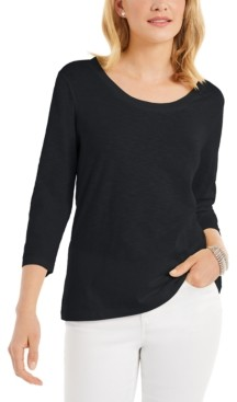 Style&Co. Style & Co Petite Cotton Scoop-Neck Top, Created for Macy's