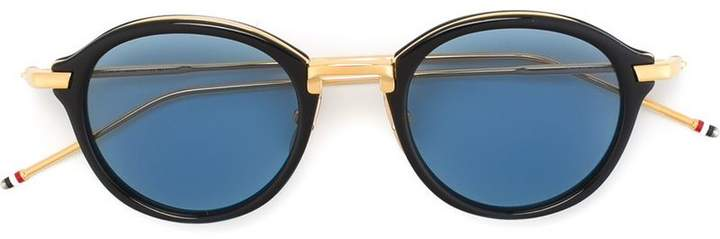 Thom Browne Eyewear Round Navy & Gold Sunglasses