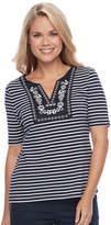 Croft & Barrow Petite Striped Embroidered Bib Top