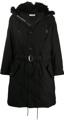 Givenchy Furry Hood Belted Parka Coat