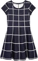 Sequin Hearts Checked-Metallic Dress, Big Girls (7-16)
