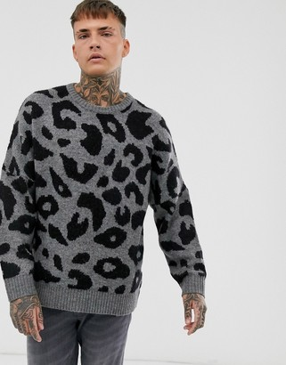 Religion oversized jumper with leopard print in grey