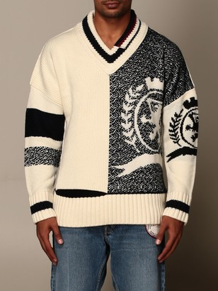 Tommy Hilfiger Sweater V-neck Pullover With Big Jacquard Logo