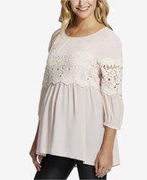 Jessica Simpson Maternity Lace-Trim Top