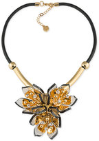 Trina Turk Gold-Tone Black Leather Multi-Crystal and Stone Flower Statement Necklace